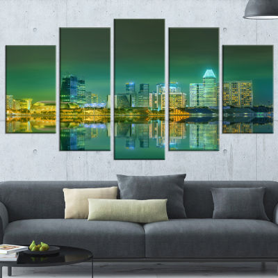 Designart Singapore View From Marina Bay Skyline Photo Wrapped Print - 5 Panels