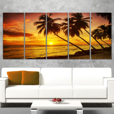 Designart Barbados Island Evening Seashore ModernSeascape Canvas Artwork - 4 Panels