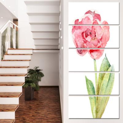 Designart Single Pink Tulip on White Background Flower Artwork on Canvas - 5 Panels
