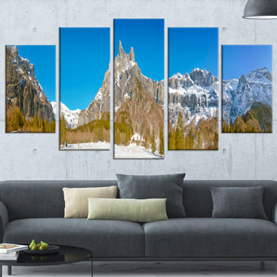 Designart Sixt Fer A Cheval Panoramic View Landscape WrappedArt Print - 5 Panels
