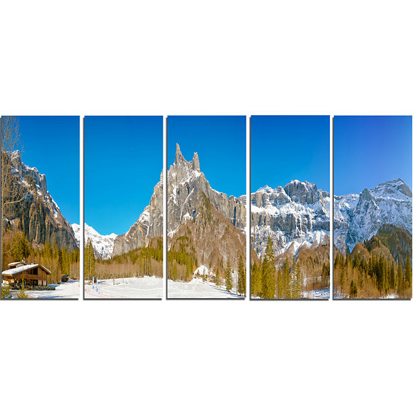 Designart Sixt Fer A Cheval Panoramic View Landscape CanvasArt Print - 5 Panels