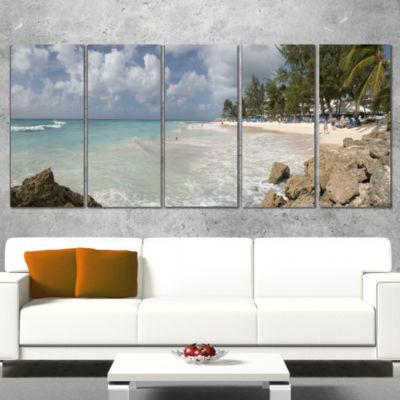 Designart Barbados Island White Seashore Modern Seascape Canvas Artwork - 5 Panels