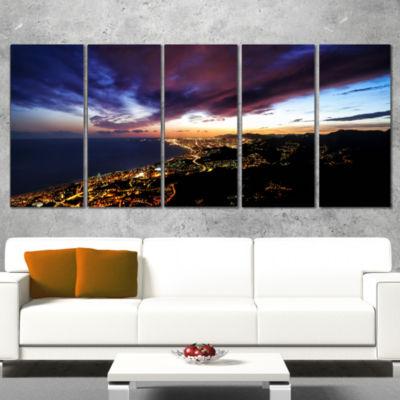 Designart Barcelona Skyline Panorama Cityscape Canvas Art Print - 5 Panels