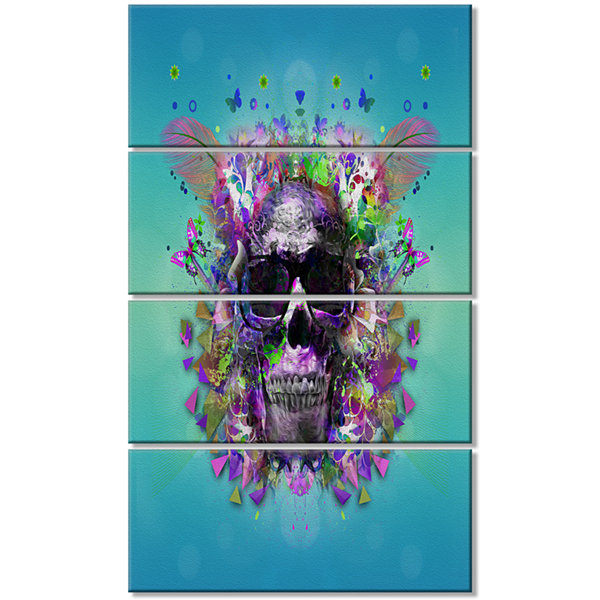 Designart Skull with Glasses and Butterflies Abstract Wall Art Canvas - 4 Panels