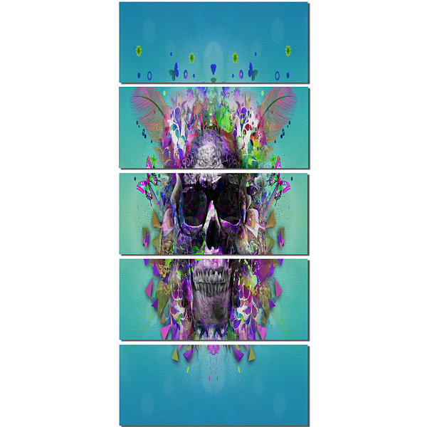 Designart Skull with Glasses and Butterflies Abstract Wall Art Canvas - 5 Panels