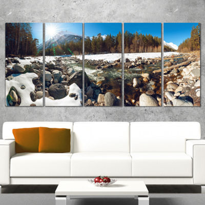 Designart Baskan Mountain River at Wintertime Landscape Wrapped Canvas Art Print - 5 Panels
