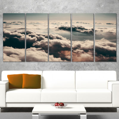 Designart Sky Above Dark Heavy Clouds ContemporaryLandscapeWrapped Art - 5 Panels