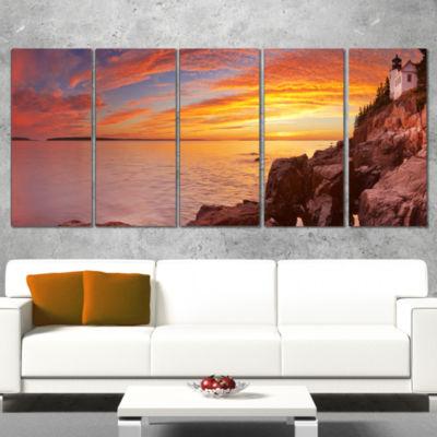 Designart Bass Harbor Head Lighthouse Panorama Modern Seascape Wrapped Canvas Artwork - 5 Panels