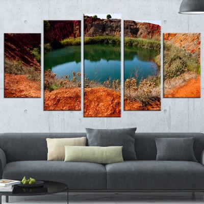 Designart Bauxite Mine with Lake Landscape PhotoCanvas Art Print - 4 Panels