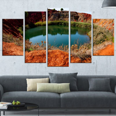 Designart Bauxite Mine with Lake Landscape PhotoWrapped Canvas Art Print - 5 Panels