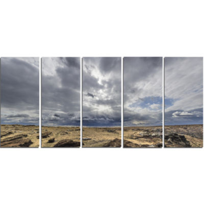 Sky and Stones Under Dark Clouds Landscape ArtworkCanvas - 5 Panels