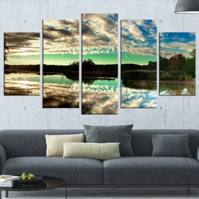 Sky Clouds Mirrored in River Panorama Landscape Wrapped Art Print - 5 Panels