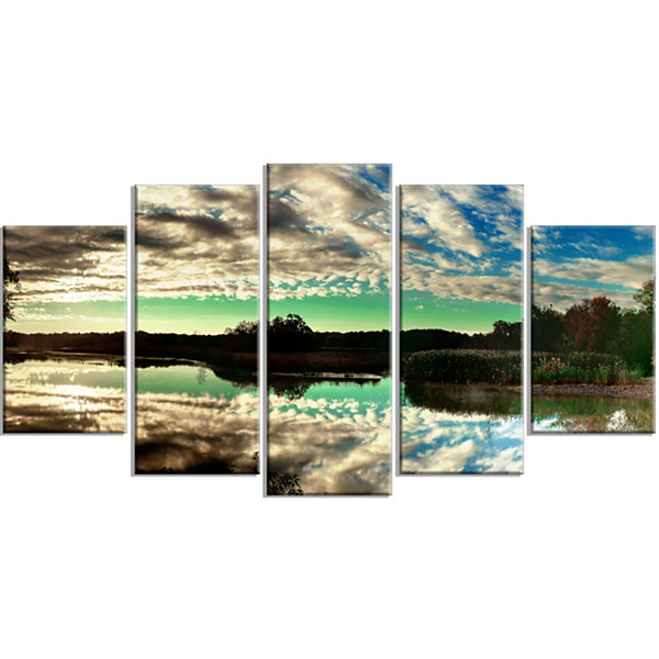 Designart Sky Clouds Mirrored in River Panorama Landscape Wrapped Art Print - 5 Panels