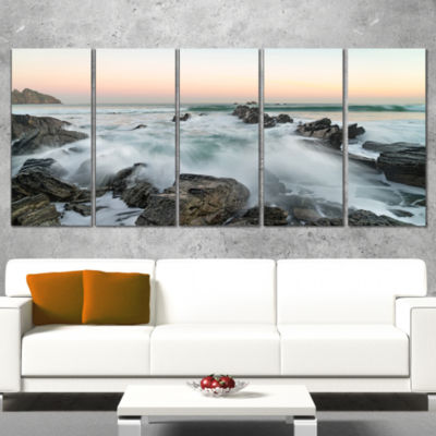 Designart Bay of Beaky Vibrant White Waves ModernSeashore Wrapped Canvas Art - 5 Panels