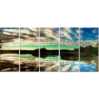 Sky Clouds Mirrored in River Panorama Landscape Canvas Art Print - 5 Panels