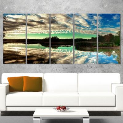 Designart Sky Clouds Mirrored in River Panorama Landscape Canvas Art Print - 5 Panels