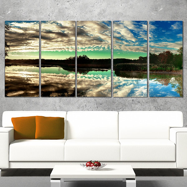 Designart Sky Clouds Mirrored in River Panorama Landscape Canvas Art Print - 5 Panels
