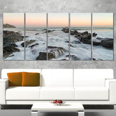 Designart Bay of Biscay Spain Seashore Extra LargeWall ArtLandscape - 4 Panels