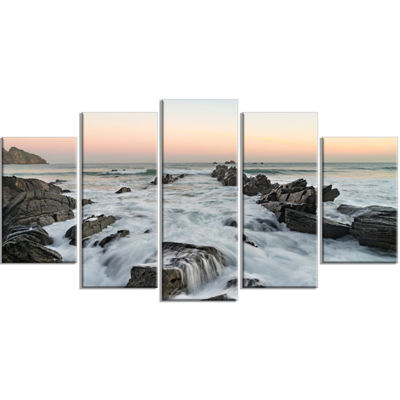 Designart Bay of Biscay Spain Seashore Extra LargeWrapped Wall Art Landscape - 5 Panels