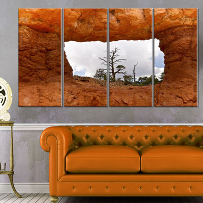 Designart Sky Through Red Canyon Window Contemporary Landscape Canvas Art - 4 Panels