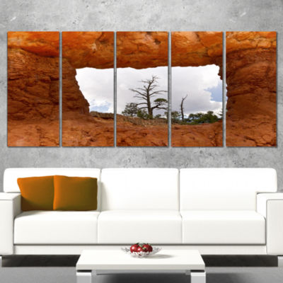 Designart Sky Through Red Canyon Window Contemporary Landscape Wrapped Art - 5 Panels