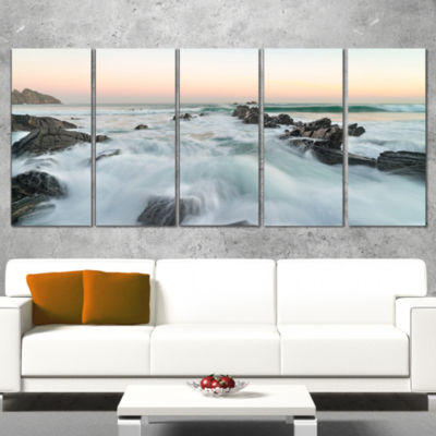 Designart Bay of Biscay Sunrise Waves Extra LargeWrapped Wall Art Landscape - 5 Panels