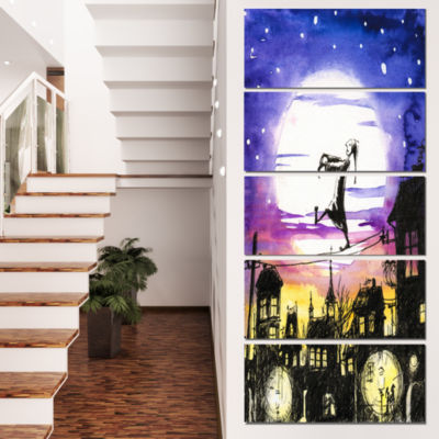 Designart Sleepwalker in Moonlight Abstract CanvasArtwork -4 Panels