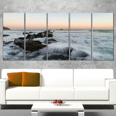 Designart Bay of Biscay White Waves Hitting BeachSeashore Wrapped Canvas Art Print - 5 Panels