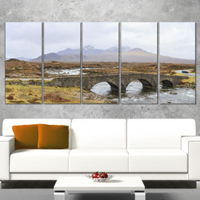 Designart Sligachan Old Bridge Panorama LandscapeArtwork Canvas - 4 Panels