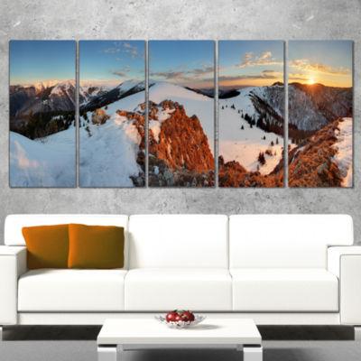 Designart Slovakia Frozen Landscape Panorama Landscape Wrapped Art Print - 5 Panels