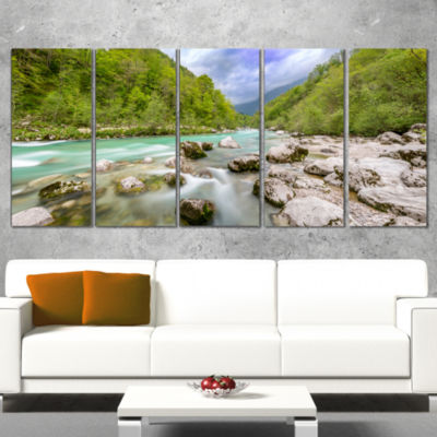 Designart Slovenia Waterfall Panorama Landscape Artwork Wrapped - 5 Panels