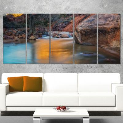 Designart Slow Motion Virgin River at Zion Landscape WrappedArt Print - 5 Panels