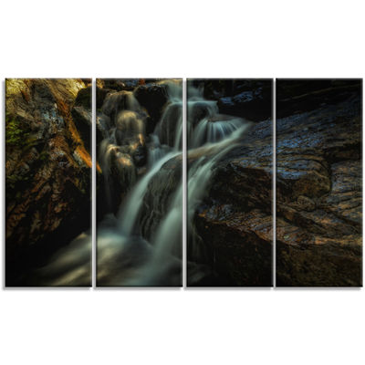 Designart Slow Motion Waterfall in Summer Landscape Canvas Art Print - 4 Panels