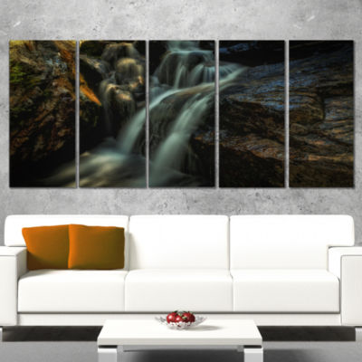 Designart Slow Motion Waterfall in Summer Landscape WrappedArt Print - 5 Panels