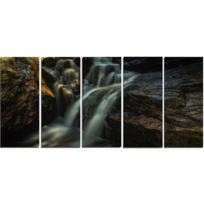 Slow Motion Waterfall in Summer Landscape Canvas Art Print - 5 Panels