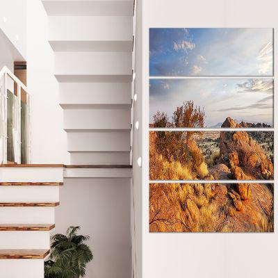 Designart Beautiful African Rocky Landscape Oversized Landscape Canvas Art - 4 Panels