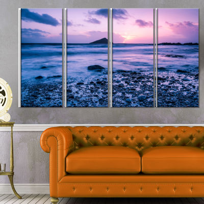 Slow Motion Waves on Rocky Beach Modern Seascape Canvas Artwork - 4 Panels