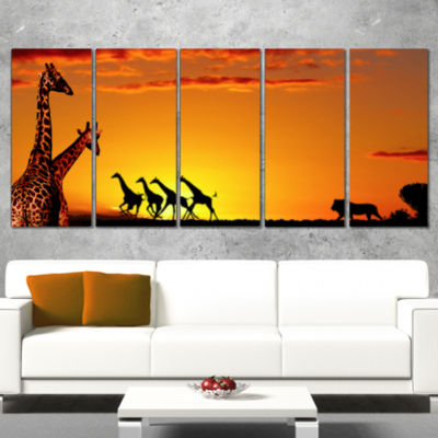 Designart Beautiful African Wildlife Concept African Wrapped Canvas Art Print - 5 Panels