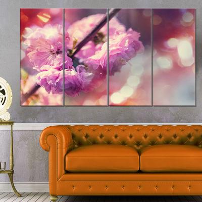Designart Beautiful Almond Tree Flowers Floral Canvas Art Print - 4 Panels