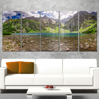 Designart Beautiful Alps Lake in Mountains Landscape Print Wall Artwork - 4 Panels