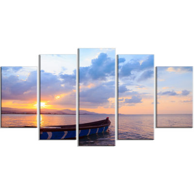 Designart Small Fishermen Boat at Sunset Modern Seashore Wrapped Art - 5 Panels