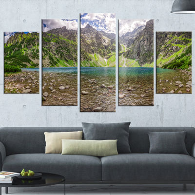 Designart Beautiful Alps Lake in Mountains Landscape Print Wrapped Wall Artwork - 5 Panels