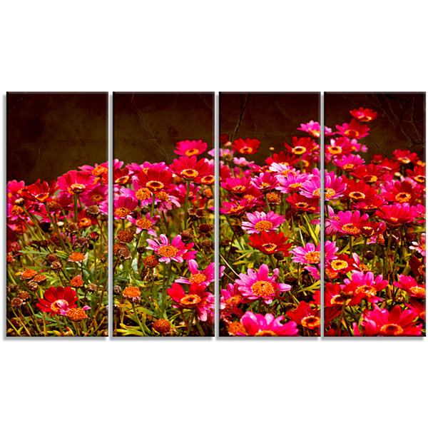 Small Red Flowers in Spring Photo Large Floral Canvas Artwork - 4 Panels