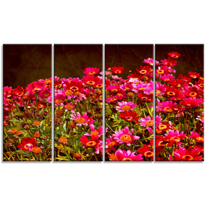 Designart Small Red Flowers in Spring Photo LargeFloral Canvas Artwork - 4 Panels