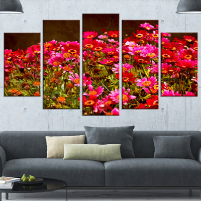 Designart Small Red Flowers in Spring Photo LargeFloral Wrapped Artwork - 5 Panels