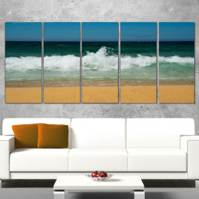 Designart Beautiful Atlantic Beach Portugal Seashore Wrapped Canvas Art Print - 5 Panels