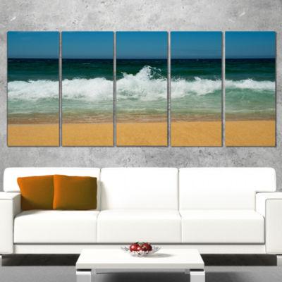 Designart Beautiful Atlantic Beach Portugal Seashore Canvas Art Print - 5 Panels
