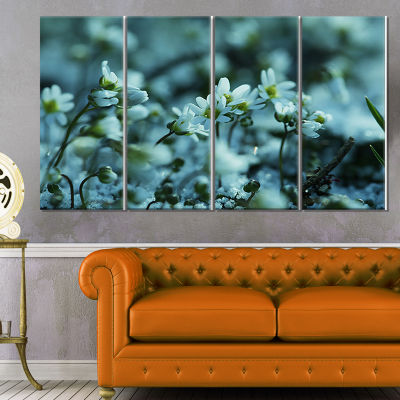Designart Small White Flowers on Blue Background Floral Canvas Art Print - 4 Panels