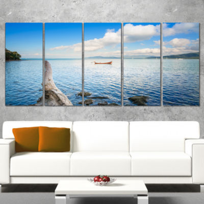 Small Wooden Boat and Tree Trunk Extra Large Seashore Canvas Art - 4 Panels