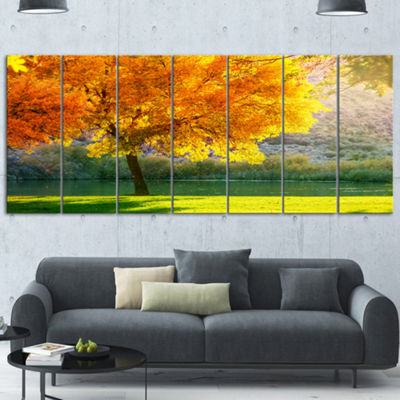 Designart Beautiful Autumn Season in Forest ExtraLarge Landscape Canvas Art - 4 Panels